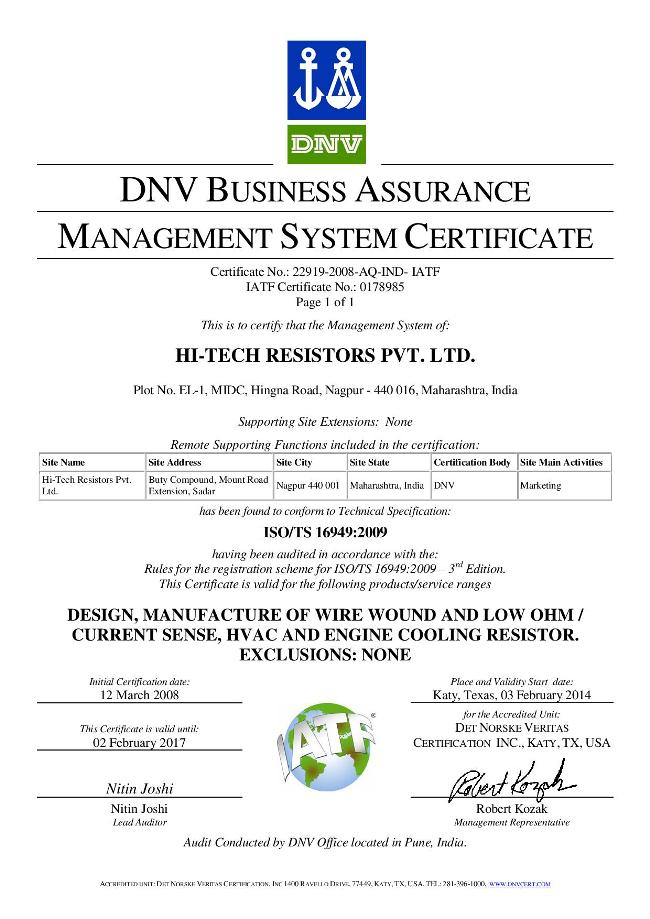 HTR India - Management System Certificate